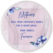 Mothers And Their Children Round Beach Towel