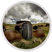 Old  Car Bodie State Park Round Beach Towel