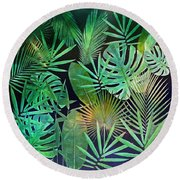 Exotique Leaves Round Beach Towel