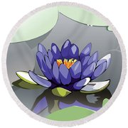 Blue Lotus Round Beach Towel