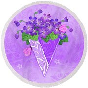 V Is For Violets Round Beach Towel