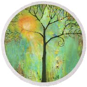 Hello Sunshine Tree Birds Sun Art Print Round Beach Towel