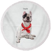 Round Beach Towel featuring the digital art Frenchie by Rob Snow