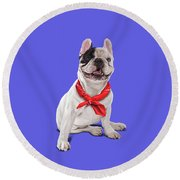 Round Beach Towel featuring the digital art Frenchie Colour by Rob Snow