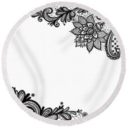 Round Beach Towel featuring the digital art Black Lace Print On White by Marianna Mills