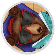 B Is For Brown Bear Round Beach Towel