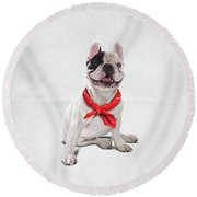 Round Beach Towel featuring the digital art Frenchie Wordless by Rob Snow