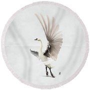 Round Beach Towel featuring the digital art Lake Wordless by Rob Snow