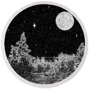 Winter's Night Round Beach Towel by Methune Hively