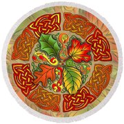 Celtic Autumn Leaves Round Beach Towel