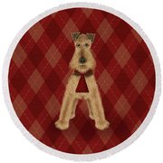 A Is  For Airedale Round Beach Towel