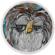 Round Beach Towel featuring the painting Owl - Goodlooking And Smart by Eloise Schneider