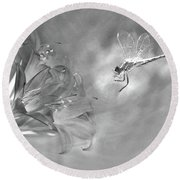 The Dragonfly And The Flower Round Beach Towel