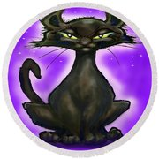 Black Cat Round Beach Towel by Kevin Middleton