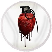 Heart Grenade Round Beach Towel by Nicklas Gustafsson