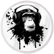 Monkey Business Round Beach Towel by Nicklas Gustafsson