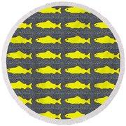 Yellow Fish Round Beach Towel