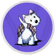 Dressed To Kilt Westie Round Beach Towel