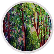 Round Beach Towel featuring the painting Gentle Breeze  by Eloise Schneider