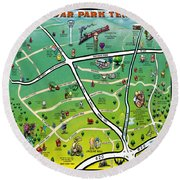 Cedar Park Texas Cartoon Map Round Beach Towel