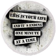 This Is Your Life - Fight Club Round Beach Towel by Nicklas Gustafsson