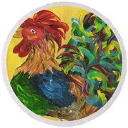 Round Beach Towel featuring the painting Plucky Rooster  by Eloise Schneider