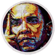 Obama Round Beach Towel by Maria Arango