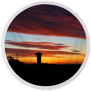 Sunrise Over Golden Spike Tower Round Beach Towel by Bill Kesler