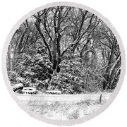 Three Tires And A Snowstorm Round Beach Towel by Bill Kesler