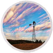 Round Beach Towel featuring the photograph Crazy Wild Windmill by Bill Kesler