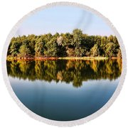 Round Beach Towel featuring the photograph When Nature Reflects by Bill Kesler