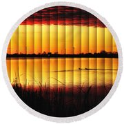 Round Beach Towel featuring the photograph Magnificent Sunrise Swim by Bill Kesler