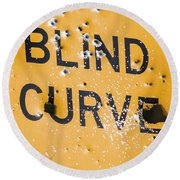 Round Beach Towel featuring the photograph Blind Curve by Bill Kesler