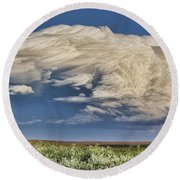 Round Beach Towel featuring the photograph Cloud Brew by Bill Kesler