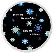 Snowflakes 4 Round Beach Towel by Methune Hively