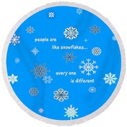 Snowflakes 5 Round Beach Towel by Methune Hively