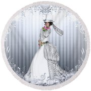 Round Beach Towel featuring the digital art Victorian Rose by Shanina Conway