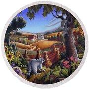 Rural Country Farm Life Landscape Folk Art Raccoon Squirrel Rustic Americana Scene  Round Beach Towel