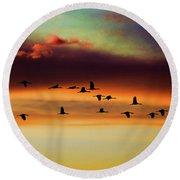 Sandhill Cranes Take The Sunset Flight Round Beach Towel