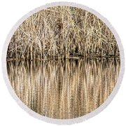 Golden Reed Reflection Round Beach Towel