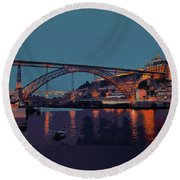 Round Beach Towel featuring the photograph Porto River Douro And Bridge In The Evening Light by Menega Sabidussi