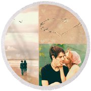 Young Love Round Beach Towel