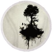 Last Tree Standing Round Beach Towel by Nicklas Gustafsson