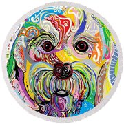 Maltese Puppy Round Beach Towel
