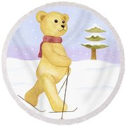 Round Beach Towel featuring the painting Bear by Elizabeth Lock