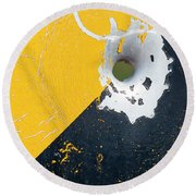 Round Beach Towel featuring the photograph Bullet Hole On The Yellow Black Line by Bill Kesler