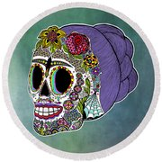 Round Beach Towel featuring the drawing Catrina Sugar Skull by Tammy Wetzel
