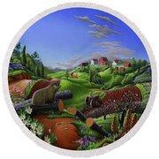 Farm Folk Art - Groundhog Spring Appalachia Landscape - Rural Country Americana - Woodchuck Round Beach Towel