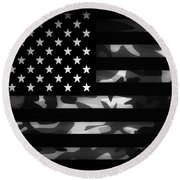 American Camouflage Round Beach Towel by Nicklas Gustafsson