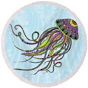 Round Beach Towel featuring the drawing Electric Jellyfish by Tammy Wetzel